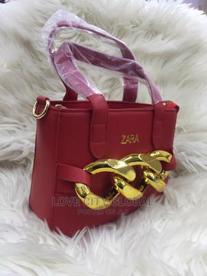 Quality Red Zara Handbags With Gold Designer. Zara Hand Bags | Bags for sale in Lagos State, Ikeja