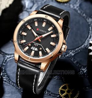Men Black Quality Leather Wristwatch Curren | Watches for sale in Lagos State, Surulere