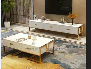 Tampered Glass Top Pure Wood Tv Stand and Table 400,000   Furniture for sale in Lagos State, Lekki