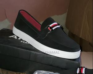 Black Leather Suede Sneakers Shoe | Shoes for sale in Lagos State, Lekki