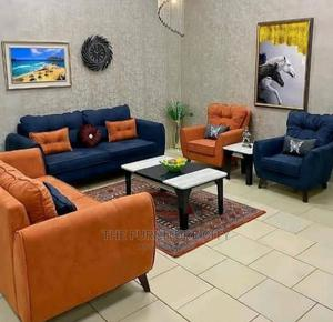 Orange and Blue Complete 7 Seater Fabric Sofa | Furniture for sale in Lagos State, Ikeja