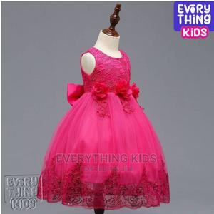 Girls Dress- Fuschia Pink With Bow and Rose Details   Children's Clothing for sale in Lagos State, Ikeja