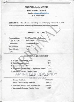 Farming Veterinary CV | Farming & Veterinary CVs for sale in Jigawa State, Taura