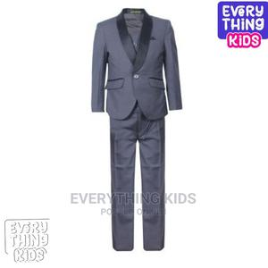 Boys 3pcs Suit-Grey With Black Lapel | Children's Clothing for sale in Lagos State, Ikeja