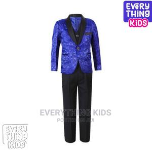 Boys 3pcs Tuxedo Suit- Royal Blue Paisley and Black | Children's Clothing for sale in Lagos State, Ikeja