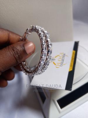 Silver Medium Sized Hoop Earring   Jewelry for sale in Lagos State, Agboyi/Ketu