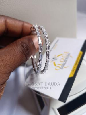 Silver Hoop Zirconia Earrings   Jewelry for sale in Lagos State, Agboyi/Ketu