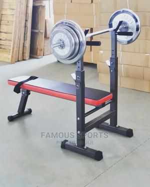 Compact Bench Press With 50kg Barbell Dumbells | Sports Equipment for sale in Lagos State, Surulere