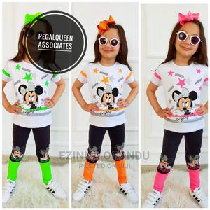 Girls White and Orange Top With Black and Orange Leggings   Children's Clothing for sale in Imo State, Owerri
