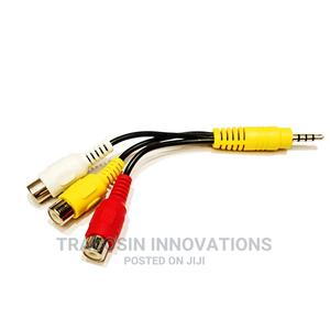 3.5mm Jack to 3 RCA (AV) Female Audio Jack Video Cable | Accessories & Supplies for Electronics for sale in Lagos State, Yaba