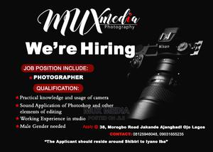 Photographer Vacancy | Other CVs for sale in Lagos State, Ojo