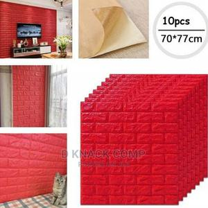10pcs Pefoam 3d Self Adhesive Brick Wallpaper Sticker -Red   Home Accessories for sale in Lagos State, Surulere
