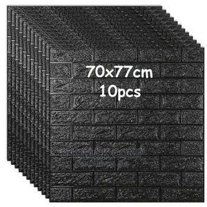 10pcs Pefoam 3D Self Adhesive Brick Wallpaper Sticker Black   Home Accessories for sale in Lagos State, Surulere