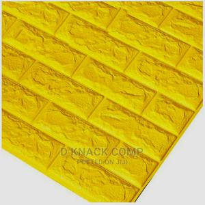 10pcs Pefoam 3D Self Adhesive Brick Wallpaper Sticker Yellow   Home Accessories for sale in Lagos State, Surulere