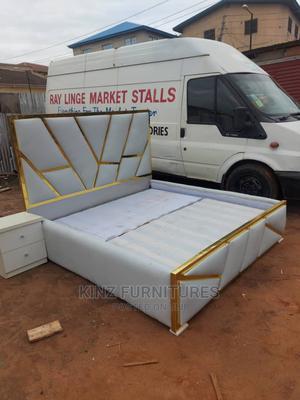 (6/6) Gold Designer Bedframe With One Bedside Cabinet | Furniture for sale in Lagos State, Ojo