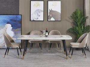 Unique Quality 6seaters Wooden Marble Top Dining Table   Furniture for sale in Lagos State, Lekki