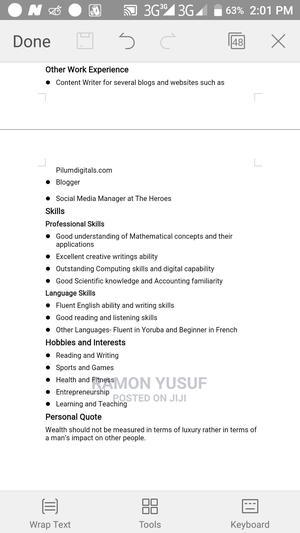 Sales Representative   Advertising & Marketing CVs for sale in Lagos State, Ifako-Ijaiye