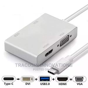 4 in 1 USB 3.1 Type-C USB-C to DVI HDMI VGA USB 3.0 Adapter | Accessories & Supplies for Electronics for sale in Lagos State, Yaba
