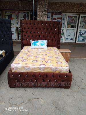 41⁄2by6 Royal Upholstery Bedframe With a Side Drawer | Furniture for sale in Lagos State, Lekki