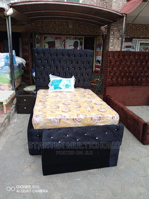 41⁄2by6 Upholstery Bedframe, a Side Drawer and Footrest. | Furniture for sale in Lagos State, Lekki