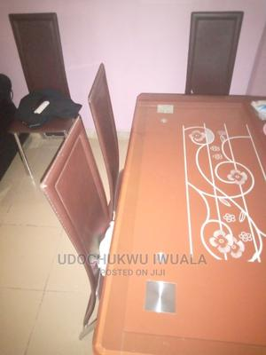 Strong Glass Dining Table With Four Leather Chairs | Furniture for sale in Abuja (FCT) State, Kuje