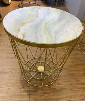 Gold Coffee Stool With Marble Design Cover | Furniture for sale in Lagos State, Ipaja