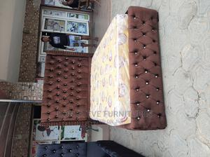 4/6 Upholstery Bed Frame With Original Mattress | Furniture for sale in Lagos State, Ojo