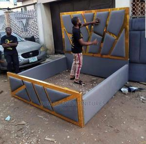 6/6 Gold Trips Padded Bed Frame   Furniture for sale in Lagos State, Ojo