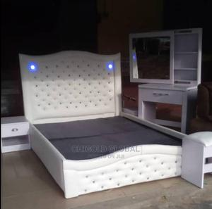 High Quality Bed Frame With Lights and Drawer Leather | Furniture for sale in Lagos State, Shomolu
