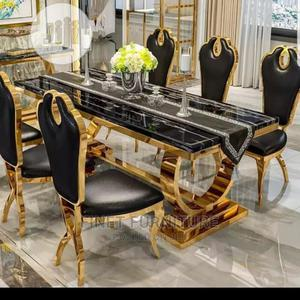 Marble Royal Dinning Table With 6 Chairs - Gold   Furniture for sale in Lagos State, Ojo
