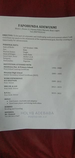 Mr Fapohunda Adewumi | Driver CVs for sale in Ondo State, Ikare Akoko