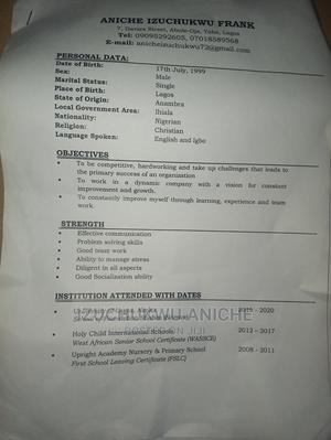 Restaurant Bar CV | Restaurant & Bar CVs for sale in Lagos State, Yaba