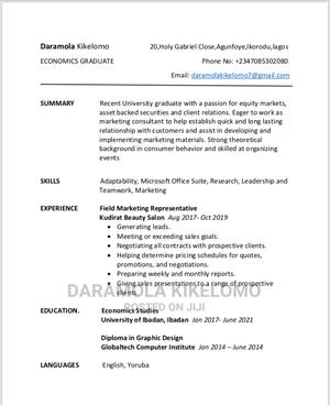 Advertising Marketing CV   Advertising & Marketing CVs for sale in Lagos State, Ikorodu