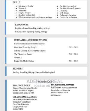 Marketing Intern | Internship CVs for sale in Oyo State, Ibadan