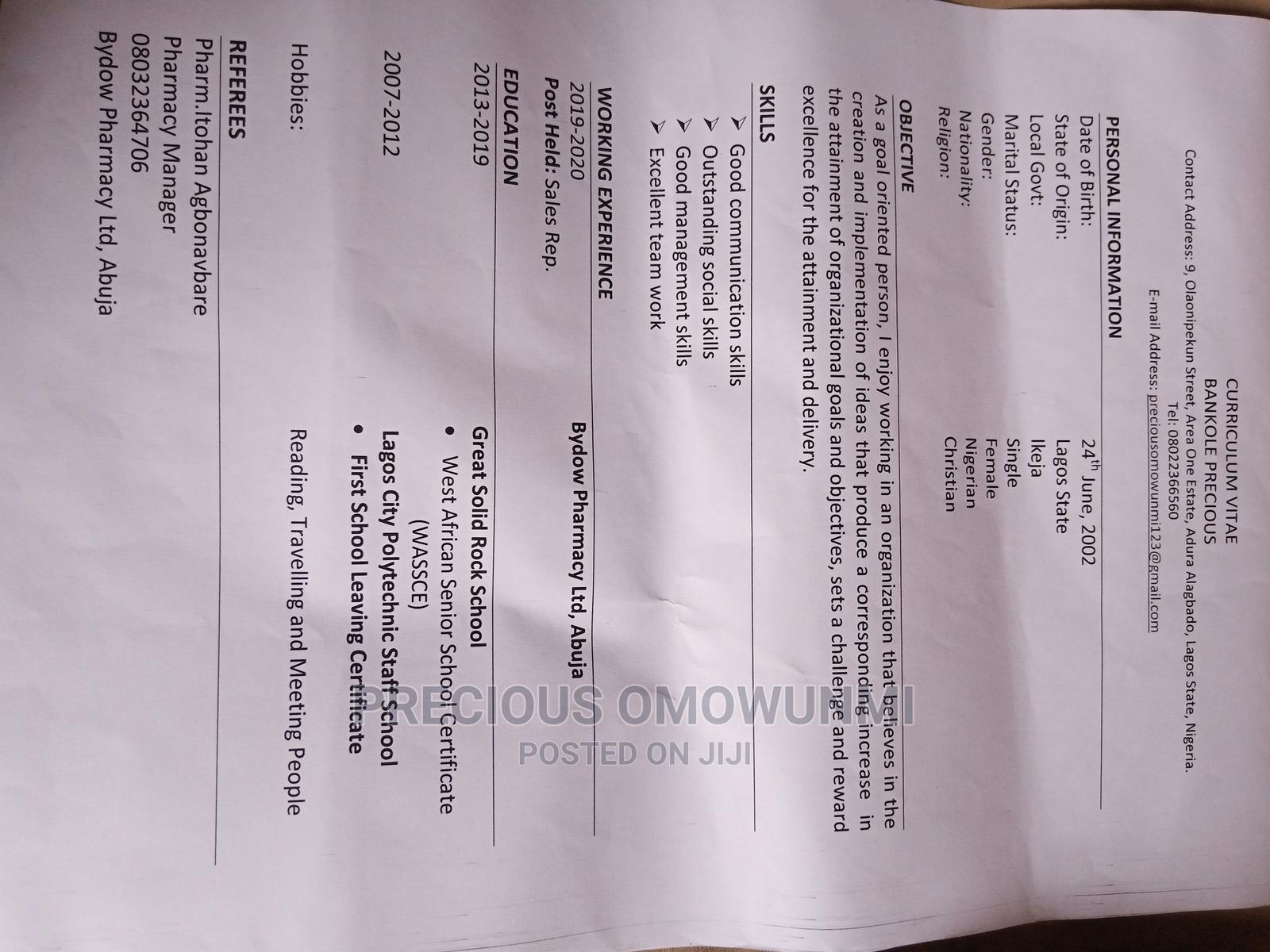 Sales Telemarketing CV | Sales & Telemarketing CVs for sale in Abule Egba, Lagos State, Nigeria