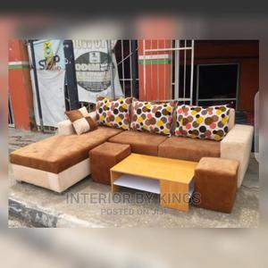 L-Shaped Fabric Sofa With a Coffee Table +Two of Ottoman | Furniture for sale in Lagos State, Maryland
