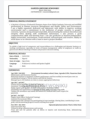 Human Resources CV | Human Resources CVs for sale in Delta State, Warri