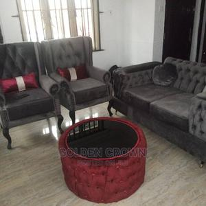 A Set of Chair Come With Centre Table and Two Puff   Furniture for sale in Lagos State, Ajah