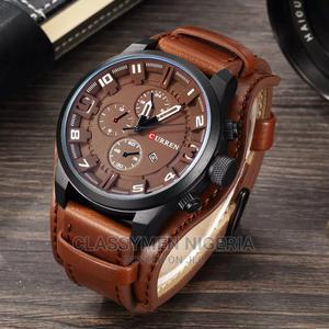 CURREN Top Luxury Waterproof Calendar Brown Leather Watch   Watches for sale in Lagos State, Ejigbo