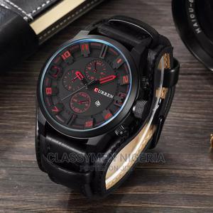 CURREN Top Luxury Waterproof Calendar Black Leather Watch | Watches for sale in Lagos State, Ejigbo
