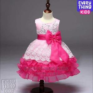 Girls Layered Ruffle Lace Dress-Pink   Children's Clothing for sale in Lagos State, Ikeja