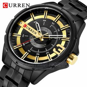 CURREN Waterproof Black Gold Stainless Steel Luxury Watch | Watches for sale in Lagos State, Ejigbo