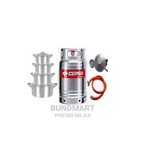 12.5KG Cepsa Gas Cylinder+ Hose+ Meter Regulator+ 4 Set Pot   Kitchen Appliances for sale in Lagos State, Ikeja