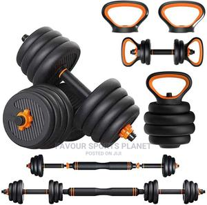 6 in 1 Dumbbell, Kettlebell,Barbell and Push Up Bar Set | Sports Equipment for sale in Rivers State, Port-Harcourt