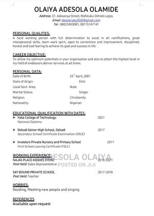Computer Operator | Computing & IT CVs for sale in Lagos State, Oshodi