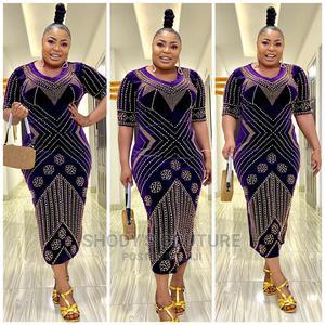 Purple Rhinestone Velvet Dress | Clothing for sale in Lagos State, Gbagada