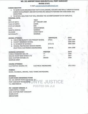 Logistics Transportation CV | Logistics & Transportation CVs for sale in Rivers State, Ikwerre