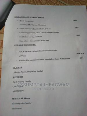Miss Iheagwam Chidera Assumpta | Teaching CVs for sale in Rivers State, Etche