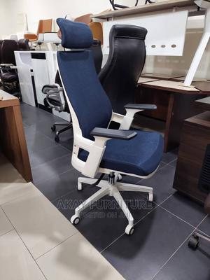 Blue Mesh and Fabric Swivel Office Chair | Furniture for sale in Lagos State, Victoria Island