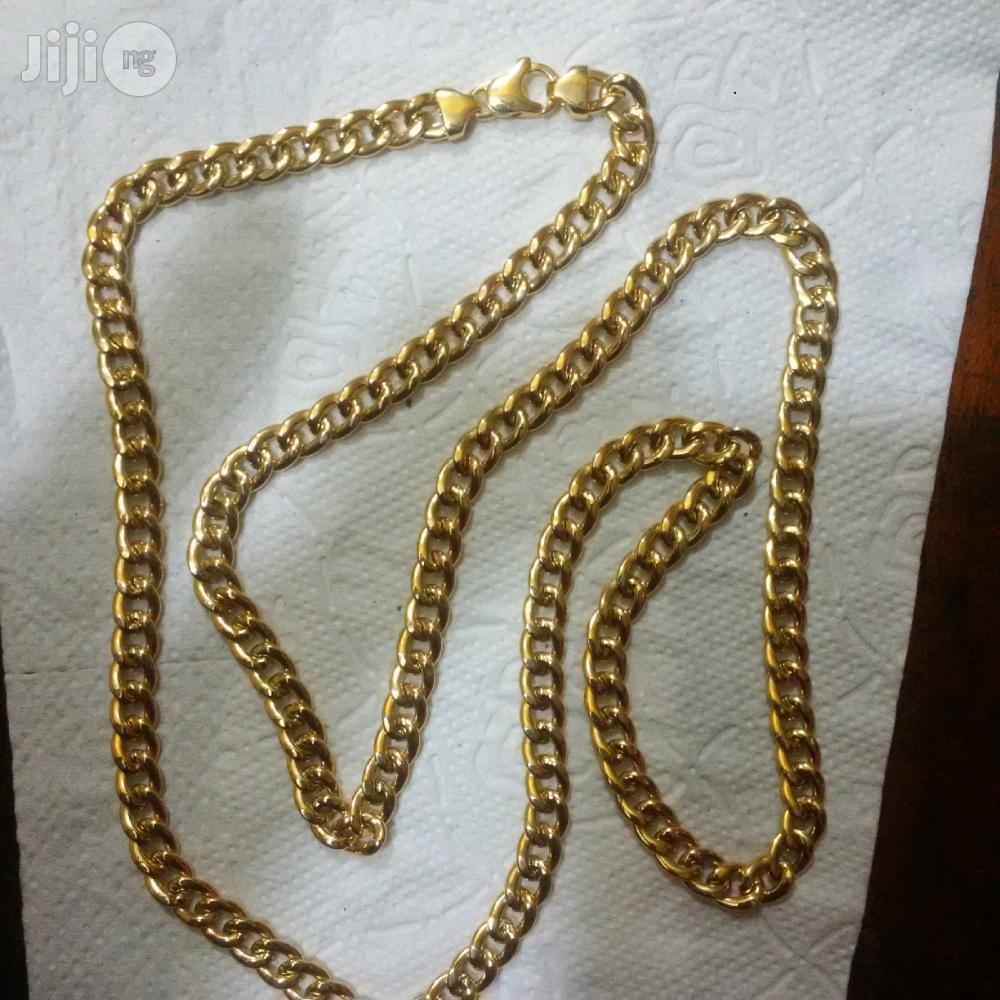 Brand New ITALY 750 Solid 18krt Gold Necklace Cuban Long Length | Jewelry for sale in Lagos Island (Eko), Lagos State, Nigeria